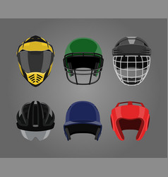 set sports helmets on a gray background vector image