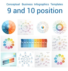 Set Templates Infographics positions 9 and 10 vector image