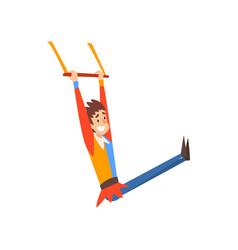 Smiling man aerial gymnast acrobat performing in vector