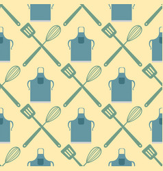 Spatula whisk seamless pattern cooking badge vector