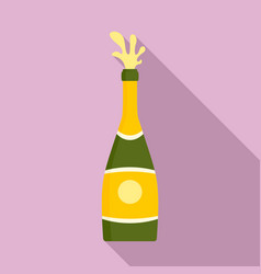 Splash champagne bottle icon flat style vector