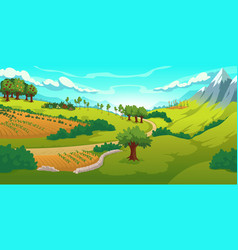 summer landscape with mountains and green fields vector image