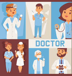 team doctors and other hospital workers with vector image