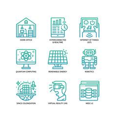 Technologies disruption icon set vector