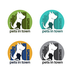 Template logo design with dog and cat in town vector