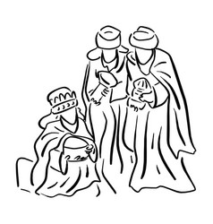 three wise men bringing gifts to jesus vector image