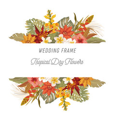 Tropical floral border with palm leaves tropic vector