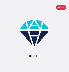 two color sketch icon from creative pocess vector image