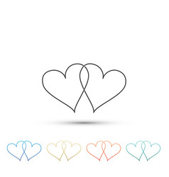 Two linked hearts icon heart two love sign vector