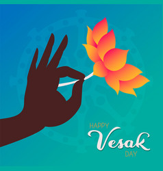 Vesak day greeting card hand with gold flower vector