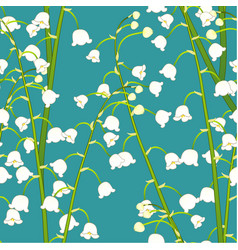 white lily of the valley on green teal background vector image