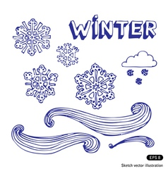 Winter elements set vector image