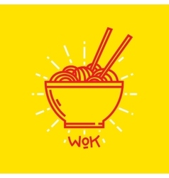 Wok noodles on plate graphic vector