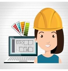 Woman architect laptop tool vector