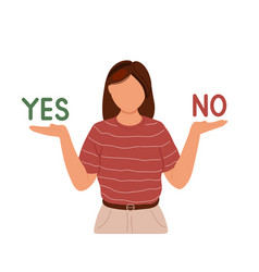 Woman choosing between yes or no vector