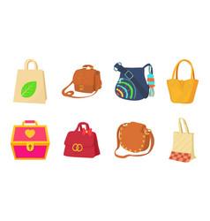 bag icon set cartoon style vector image