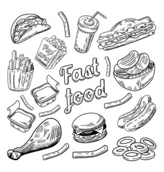 fast food restaurant menu hand drawn burger vector image