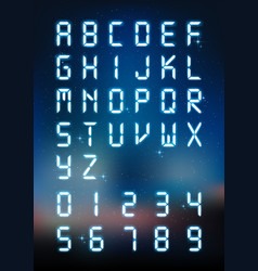 glow digital alphabet and number for digital text vector image vector image
