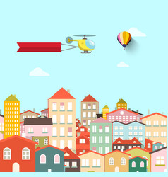 town with buildings abstract flat design city vector image