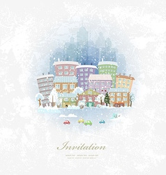 vintage invitation card with winter city scenery vector image