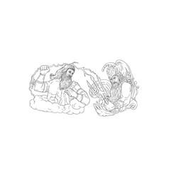 zeus vs poseidon black and white drawing vector image vector image