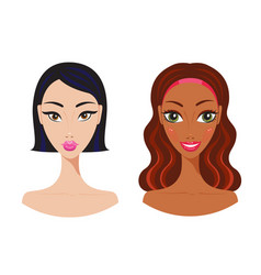 beautiful young asian and african american woman vector image vector image