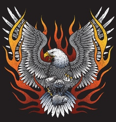 Eagle holding motorcycle engine with flames vector image vector image