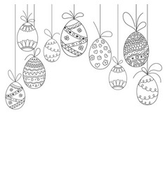 Easter invitation card from doodle easter eggs vector