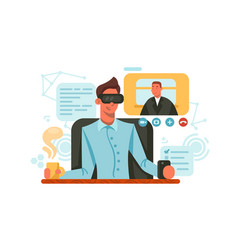 guy with glasses of virtual reality vector image