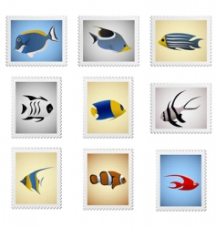 stamp fish series vector image