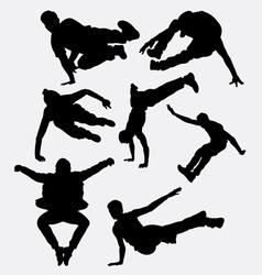 Pakour dancer material art sport silhouette vector