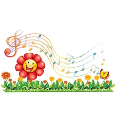 A red flower in the garden with musical notes vector image vector image