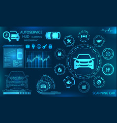 hardware diagnostics condition of car scanning vector image vector image