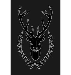 Hunting trophy Deer head in laurel wreath Black vector image vector image