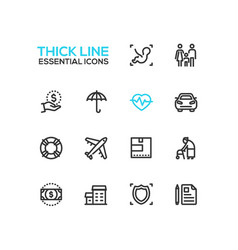 Insurance - modern single thick line icons vector