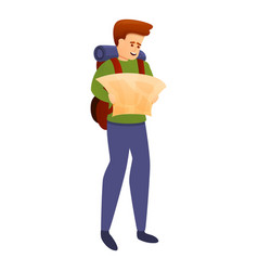 Adventurer with map icon cartoon style vector