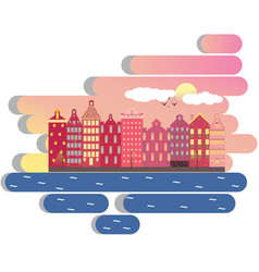 amsterdam city day clouds concept vector image