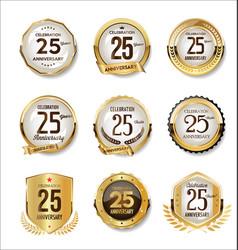 Anniversary golden retro badges collection 25 vector
