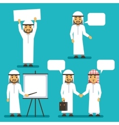 Arab man characters with blank banner and vector image