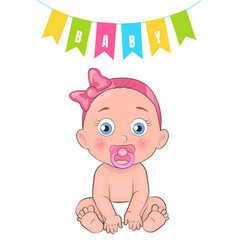 Baby girl poster newborn infant pacifier in mouth vector