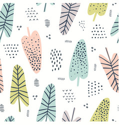 banana leaves hand drawn seamless pattern vector image