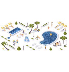 beach resort concept 3d isometric scene tropical vector image