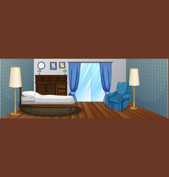 Bedroom with wooden furniture and blue armchair vector