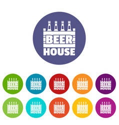 beer icons set color vector image