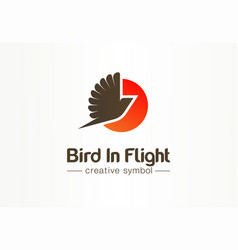 Bird in flight sunsetcreative symbol concept vector