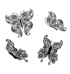 Black butterflies vector image