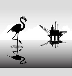 Black flamingo in water vector
