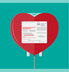 Blood bag in heart shape vector