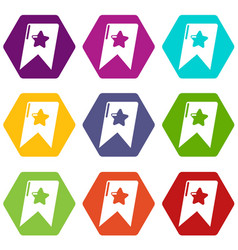 bookmark browser icons set 9 vector image