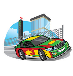 Cartoon racing car running fast on the track vector